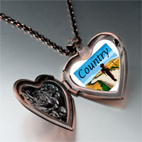 Necklace & Pendants - music theme country scene photo heart locket pendant necklace Image.