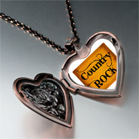 Necklace & Pendants - music theme country rock letter photo heart locket pendant necklace Image.