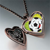 Items from KS - sports soccer photo heart locket pendant necklace Image.