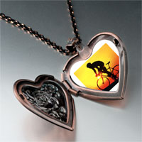 Items from KS - sports cyclocross photo heart locket pendant necklace Image.