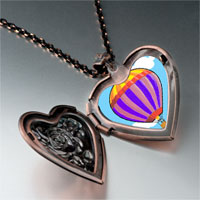 Necklace & Pendants - travel beauty hot air balloon photo heart locket pendant necklace Image.