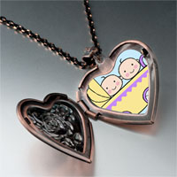 Necklace & Pendants - family twin baby photo heart locket pendant necklace Image.