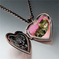 Necklace & Pendants - tabby cat photo italian heart locket pendant necklace Image.