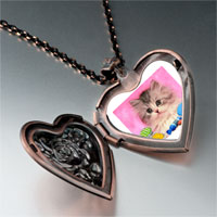 Necklace & Pendants - naughty kitten photo italian heart locket pendant necklace Image.