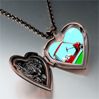 Items from KS - golf trolley photo italian heart locket pendant necklace Image.