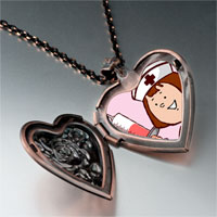Items from KS - nurse photo italian heart locket pendant necklace Image.