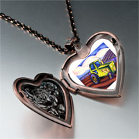 Items from KS - tractor photo italian heart locket pendant necklace Image.