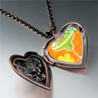 Items from KS - drink flowers photo italian heart locket pendant necklace Image.