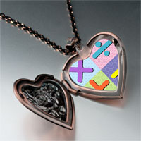 Necklace & Pendants - add subtract multiply divide sign photo italian heart locket pendant necklace Image.