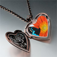 Necklace & Pendants - butterfly flower photo italian heart locket pendant necklace Image.