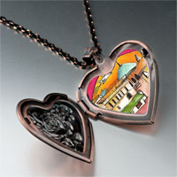 Items from KS - hand painted photo italian heart locket pendant necklace Image.