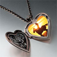 Necklace & Pendants - riding off into sunset heart locket pendant necklace Image.