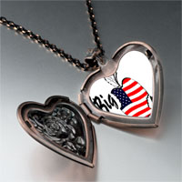 Necklace & Pendants - american flag printed on apple heart rose heart locket pendant gifts for women necklace Image.