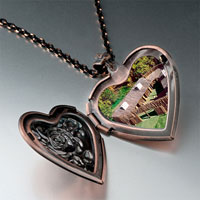 Items from KS - huts on green heart locket pendantheart rose gifts for women necklace Image.