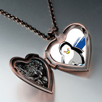 Necklace & Pendants - cute penuins mother looking at baby heart locket pendant necklace heart rose Image.