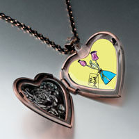 Necklace & Pendants - mom pink carnation vase heart locket pendant necklace heart rose Image.