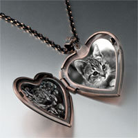 Necklace & Pendants - cat in black &  white heart locket pendant necklace Image.