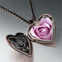 Necklace & Pendants - blooming rose heart locket pendant necklace Image.