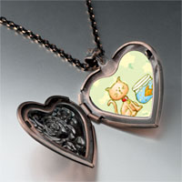 Necklace & Pendants - cat goldfish heart locket pendant necklace Image.