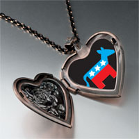 Necklace & Pendants - democrat donkey black heart locket pendant necklace Image.