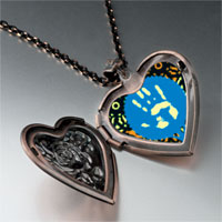 Items from KS - graffiti hand heart locket pendant necklace Image.