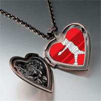 Items from KS - walking halloween mummy heart locket pendant necklace Image.