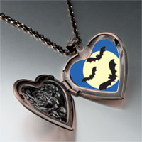 Necklace & Pendants - bats full moon heart locket pendant necklace Image.