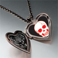 Necklace & Pendants - halloween skull bone heart locket pendant necklace Image.