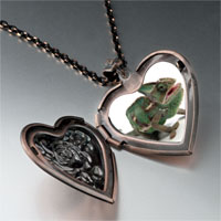 Items from KS - green iguana heart locket pendant necklace Image.