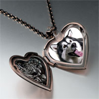 Necklace & Pendants - husky dog photo heart locket pendant necklace Image.