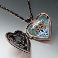 Items from KS - baby cheetah cub heart locket pendant necklace Image.