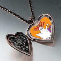 Items from KS - boo halloween ghost costume orange heart locket pendant necklace Image.