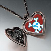 Necklace & Pendants - halloween skull crossbones heart locket pendant necklace Image.