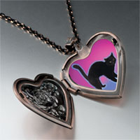 Necklace & Pendants - black cat arched back heart locket pendant necklace Image.