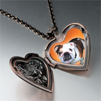 Necklace & Pendants - brown white bulldog heart locket pendant necklace Image.