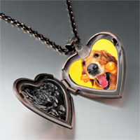 Necklace & Pendants - golden retriever bone heart locket pendant necklace Image.