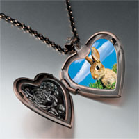 Necklace & Pendants - bunny in field heart locket pendant necklace Image.