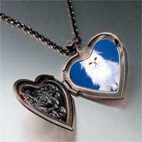 Necklace & Pendants - white fluffy cat heart locket pendant necklace Image.