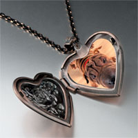 Necklace & Pendants - wrinkly dog heart locket pendant necklace Image.