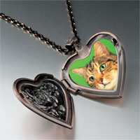 Necklace & Pendants - green eyed cat heart locket pendant necklace Image.