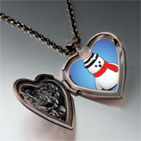 Necklace & Pendants - jewelry christmas gifts snowman red scarf heart locket pendant necklace Image.