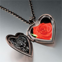 Necklace & Pendants - red rose heart locket pendant necklace Image.