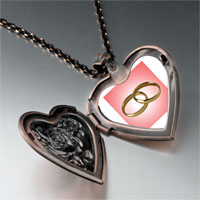 Necklace & Pendants - wedding ring pink golden heart locket pendant necklace Image.