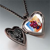 Necklace & Pendants - vase flowers heart locket pendant necklace Image.