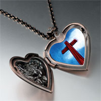 Items from KS - wooden cross heart locket pendant necklace Image.