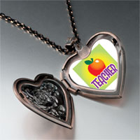 Necklace & Pendants - teacher apple heart locket pendant necklace Image.
