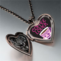 Necklace & Pendants - coffee lover heart locket pendant necklace Image.
