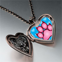 Necklace & Pendants - pink paw print heart locket pendant necklace Image.