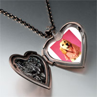 Necklace & Pendants - retriever in pink heart locket pendant necklace Image.