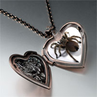 Items from KS - deadly spider heart locket pendant necklace Image.